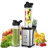 homgeek licuadora smoothies, batidora de vaso, Mini licuadoras para verduras y frutas con 2 botellas portátiles de 600 ml, 2...