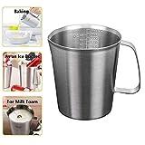 ZHER-LU 304 - Vaso medidor de acero inoxidable grueso con escala para cocina, hornear, tazas de cocina, cuchara medidora...