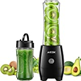 Aicok Batidora de Vaso Individual, Mini Batidora Smoothies, Sin BPA, 2 Vasos Portátiles de 600 ml y 350 ml, Licuadoras para...