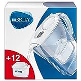 BRITAMarellablancaPack Ahorro – Jarra de Agua Filtrada con12cartuchos MAXTRA+, Filtro de agua BRITA que reduce la...