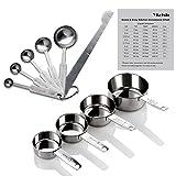 Yizish tazas de acero inoxidable de medición y cucharas con la regla de medición, tabla de conversión de la cocina...