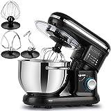 ALBOHES Batidora Amasadora, 6 Velocidades Kitchen Mixer Multifuncional, 3 Ganchos, Bajo Ruido, Robot de Cocina con Protector...