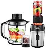 AICOK Batidora de Vaso, 5 en 1 Multifunción para Batidora para Smoothie, Molinillo de Café, Procesador de Alimentos,...