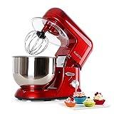 Klarstein TK1 Bella Rossa - Robot de Cocina , Batidora , Amasadora , 1200 W , 5,2 litros , 1,6 PS , Batido planetario , 6...